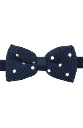 Soprano Pre-tied Navy and White Polka Dot Knitted Polyester Bow Tie