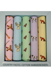 Five Pack Country Animals in Pastel Colours Cotton Hankies