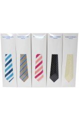 Box Of 100 Assorted Polyester Ties Packed Individually In Tie Sleeve Envelopes