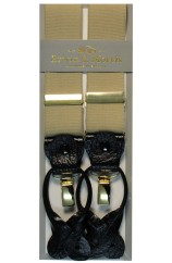 Erwin & Morris Made In UK Camel 2 in 1 Luxury 35mm Gilt Clip Or Leather End Trouser Braces