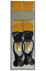 Erwin & Morris Made in UK Mustard 2 in 1 Luxury 35mm Wide Guilt Clips Or Leather Straps Y Back Braces