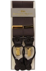 Erwin & Morris Made In UK Brown 2 in 1 Luxury 35mm Gilt Clips Or Leather End Trouser Braces