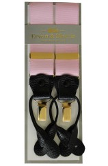 Erwin & Morris Made In UK Pink 2 in 1 Luxury 35mm Guilt Clip Or Leather End Trouser Braces