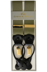 Erwin & Morris Made In UK Moss Green 2 in 1 Luxury 35mm Guilt Clip Or Leather End Trouser Braces