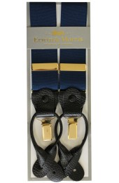 Erwin & Morris Made In UK Navy 2 in 1 Luxury 35mm Guilt Clip Or Leather End Trouser Braces