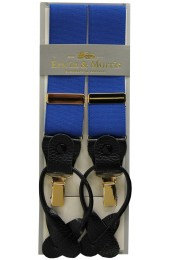 Erwin & Morris Made In UK Royal Blue 2 in 1 Luxury 35mm Guilt Clip Or Leather End Trouser Braces