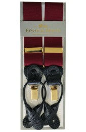 Erwin & Morris Made in UK Plain Wine 2 in 1 Luxury 35mm Guilt & Leather Y Back 3 Clip Braces