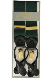 Erwin & Morris Made In UK Racing Green 2 in 1 Luxury 35mm Guilt Clip Or Leather End Trouser Braces