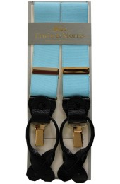 Erwin & Morris Made In UK Sky Blue 2 in 1 Luxury 35mm Guilt Clip Or Leather End Trouser Braces