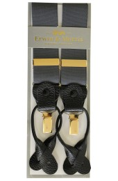 Erwin & Morris Made In UK Charcoal 2 in 1 Luxury 35mm Guilt Clip Or Leather End Trouser Braces