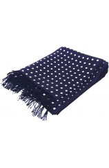 Soprano Silk Aviator Scarf Navy Ground With White Polka Dots