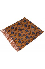 Soprano Edwardian Orange With Blue Flowers Silk Aviator Scarf