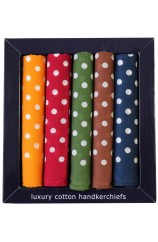 Soprano 5 Different Colours Of Spotted Cotton Hankies