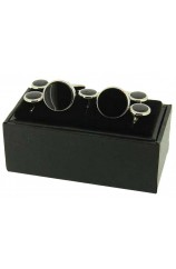 Soprano Black Enamel Cufflinks and 5 Piece Matching Stud Set