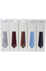 Box Of 100 Assorted Silk Ties Packed Individually In Tie Sleeve Envelopes