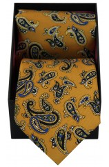 Soprano Mustard Paisley Silk Tie And Hanky Set Presented In A Gift Box