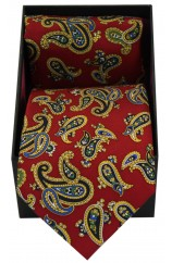 Soprano Red Large Paisley Silk Tie & Hanky Set Presented In A Gift Box