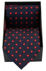 Soprano Navy & Red Polka Dot Silk Tie & Hanky Set Presented In A Gift Box