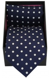Soprano Navy & White Polka Dot Silk Tie & Hanky Set Presented In A Gift Box