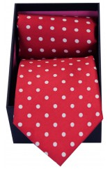 Soprano Red & White Polka Dot Silk Tie & Hanky Set Presented In A Gift Box
