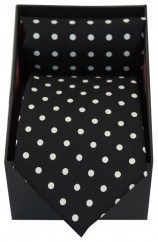 Soprano Black & White Polka Dot Silk Tie & Hanky Set Presented In A Gift Box