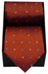 Soprano Burnt Orange Small Flowers Tie & Hanky Set Presented In A Gift Box