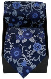 Soprano Navy Flowers Silk Tie And Hanky in A presentation Box