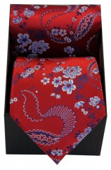Soprano Red With Floral Pattern Mens Silk Tie And Hanky Supplies In A Gift Box