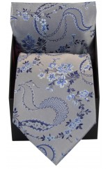 Soprano Silver With Floral Pattern Silk Tie And Hanky Supplied In A Gift Box