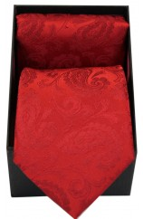 Soprano Red Paisley Silk Tie And Hanky Set Presented In A Gift Box