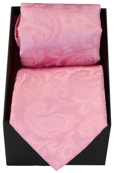 Soprano Pink Paisley Silk Tie And Hanky Set Presented In A Gift Box