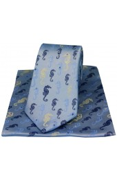 Posh & Dandy Multi Coloured Sea Horses On Sky Blue Ground