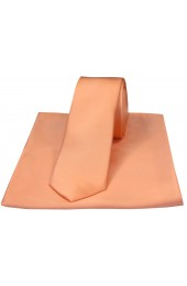 Soprano Peach Satin Silk Thin Tie and Pocket Square