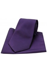 Deep Purple Satin Silk Tie and Pocket Square