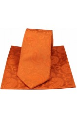 Soprano Paisley Orange Silk Tie and Pocket Square