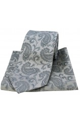 Soprano Silver Paisley Silk Tie and Pocket Square