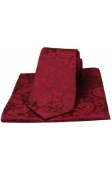 Soprano Wine Paisley Woven Silk Tie and Pocket Square