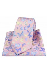 Posh & Dandy Butterflies on Pink Ground Silk Tie and Pocket Square