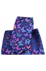 Posh & Dandy Butterflies on Navy Silk Tie and Pocket Square
