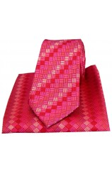 Posh & Dandy Fuchsia with Pink Box Pattern Silk Tie & Pocket Square