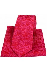 Posh & Dandy Red Link Pattern Luxury Silk Tie and Pocket Square
