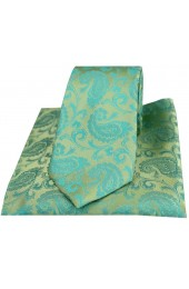 Soprano Jade Paisley Woven Silk Tie and Pocket Square