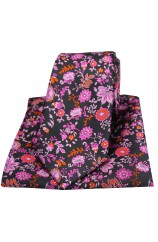 Posh & Dandy Black Pink Lilac Floral Luxury Silk Tie and Pocket Square