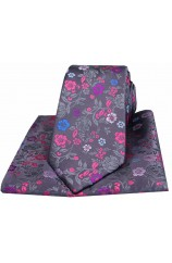 Posh & Dandy Grey with Multi Coloured Flowers Silk Tie and Pocket Square