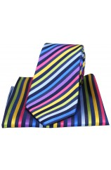 Posh & Dandy Multicoloured Thin Stripes Silk Tie and Pocket Square