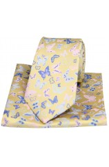 Posh & Dandy Butterflies on Yellow Ground Silk Tie and Pocket Square