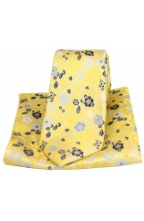 Posh & Dandy Bright Gold Flower Design Silk Tie and Pocket Square