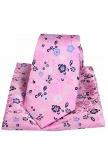 Posh & Dandy Pink Flowers Luxury Silk Tie and Pocket Square