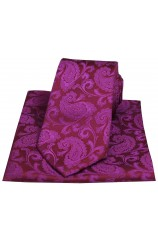Soprano Deep Fuchsia Paisley Woven Silk Tie and Pocket Square