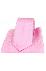 Soprano Pink Leaf Pattern Silk Tie and Pocket Square